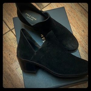 Brand new, never worn black suede ankle booties